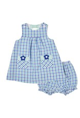 Dress w/Bloomers, Blue/Green Plaid, Flowers,