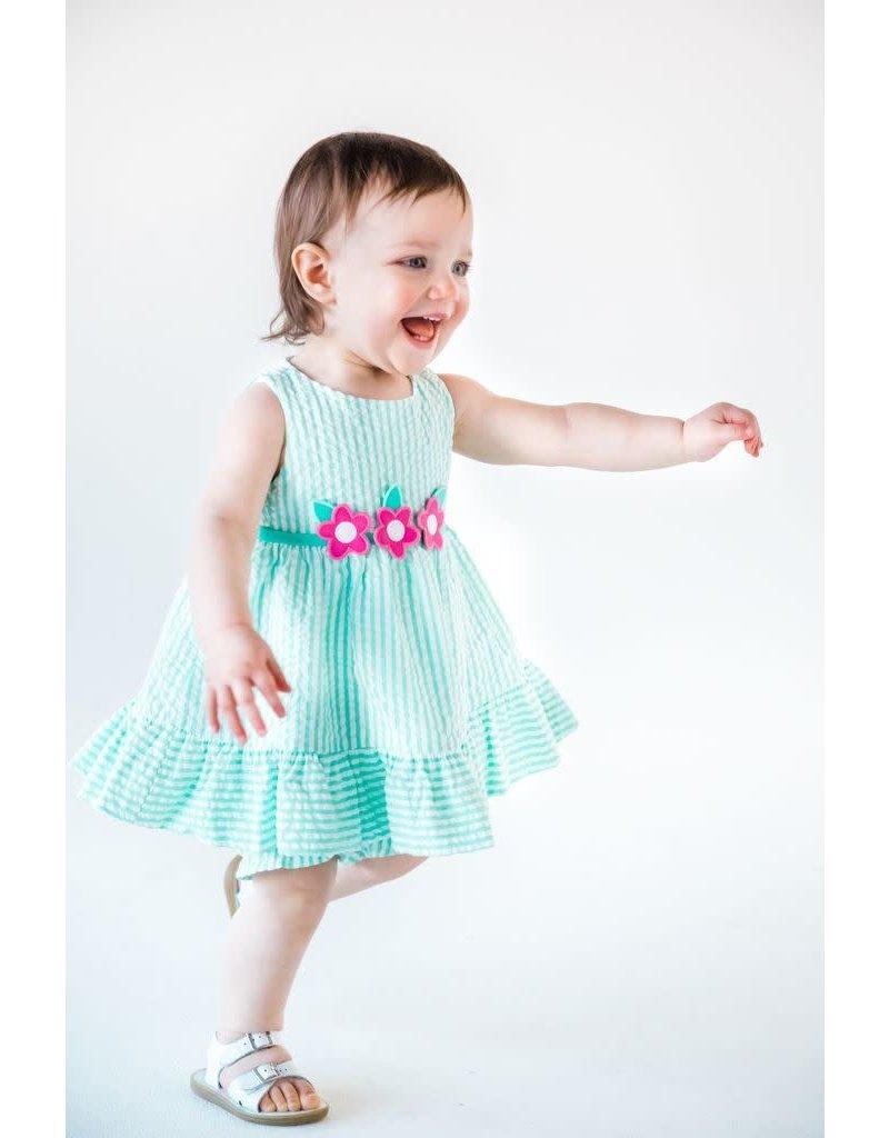 Dress w/Bloomers, Jade Stripe Seersucker, FE,