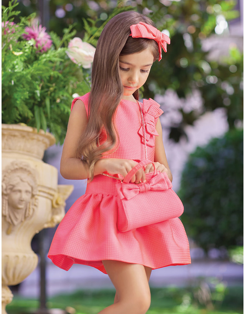 Dress w/Bow & Ruffle Hem, Watermelon,