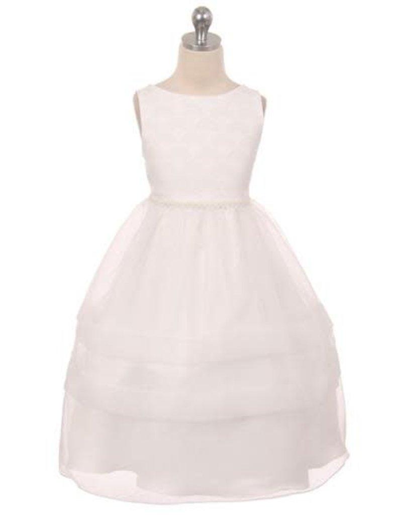 Dress, Tulle Overlay, Pearl Waist