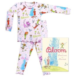Pajamas w/Book, White, Bloom,