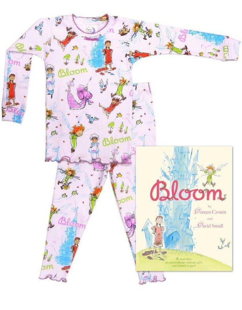 Pajamas w/Book, White, Bloom,