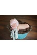 Hat, Chardonnay, Soft Yarn w/Flowers