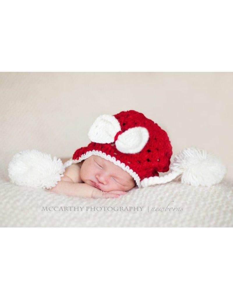 Hat, Ellie Mae, Crocheted, White w/Red Pom Poms