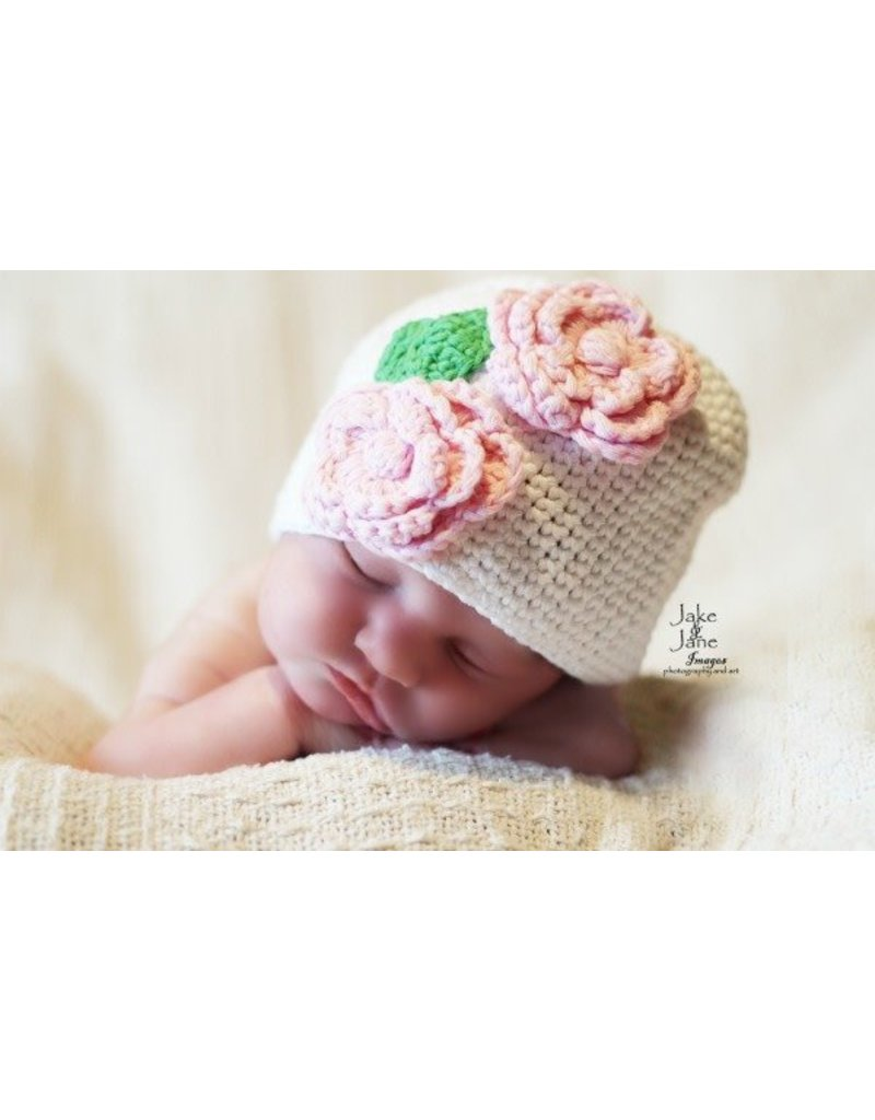 Hat, Harper w/Pink Roses, Crocheted