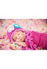 Hat, Josephine Soft Yarn, Crocheted w/Flowers