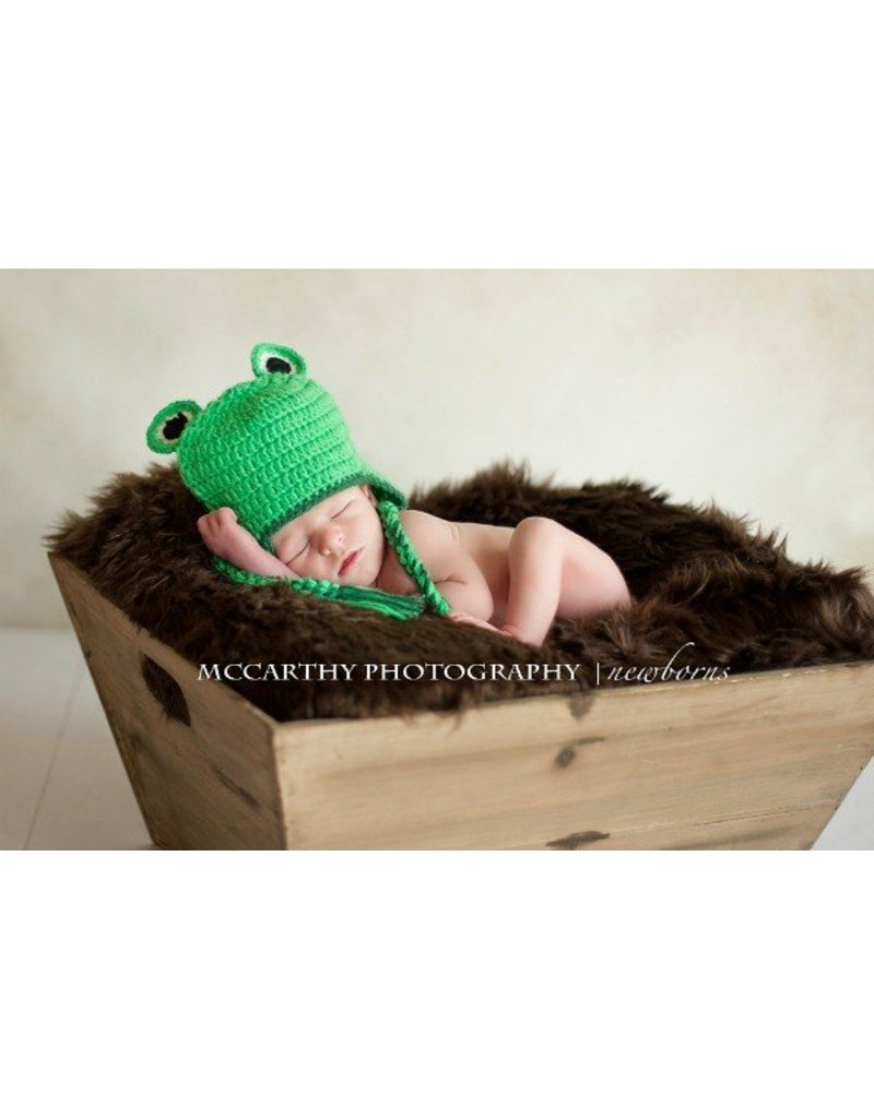 Hat, Libby & Lou Green Frog, Crocheted