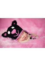 Hat, Midnight Kitty, Jet Black/Hot Pink