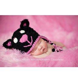 Hat, Midnight Kitty, Jet Black/Hot Pink