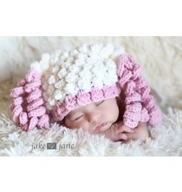 Hat, Paris, Soft Popcorn Yarn, Pink/White