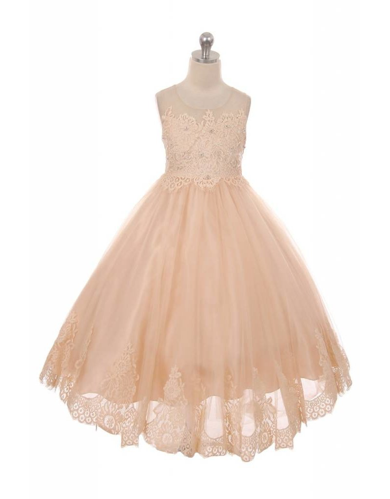 Dress, Tulle, Lace Insets, Pearls, Vintage Rose