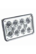 Heise Heise - Headlight Assembly-4X6 Rectangular Headlight Silver Front Face -HE-4X6S1