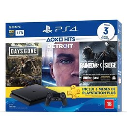 SYS-Sony PS4 Slim System 1TB 3 Hit Games Bundle + 3 Month PS Plus - Days Gone, Detroit, Rainbow Six Siege