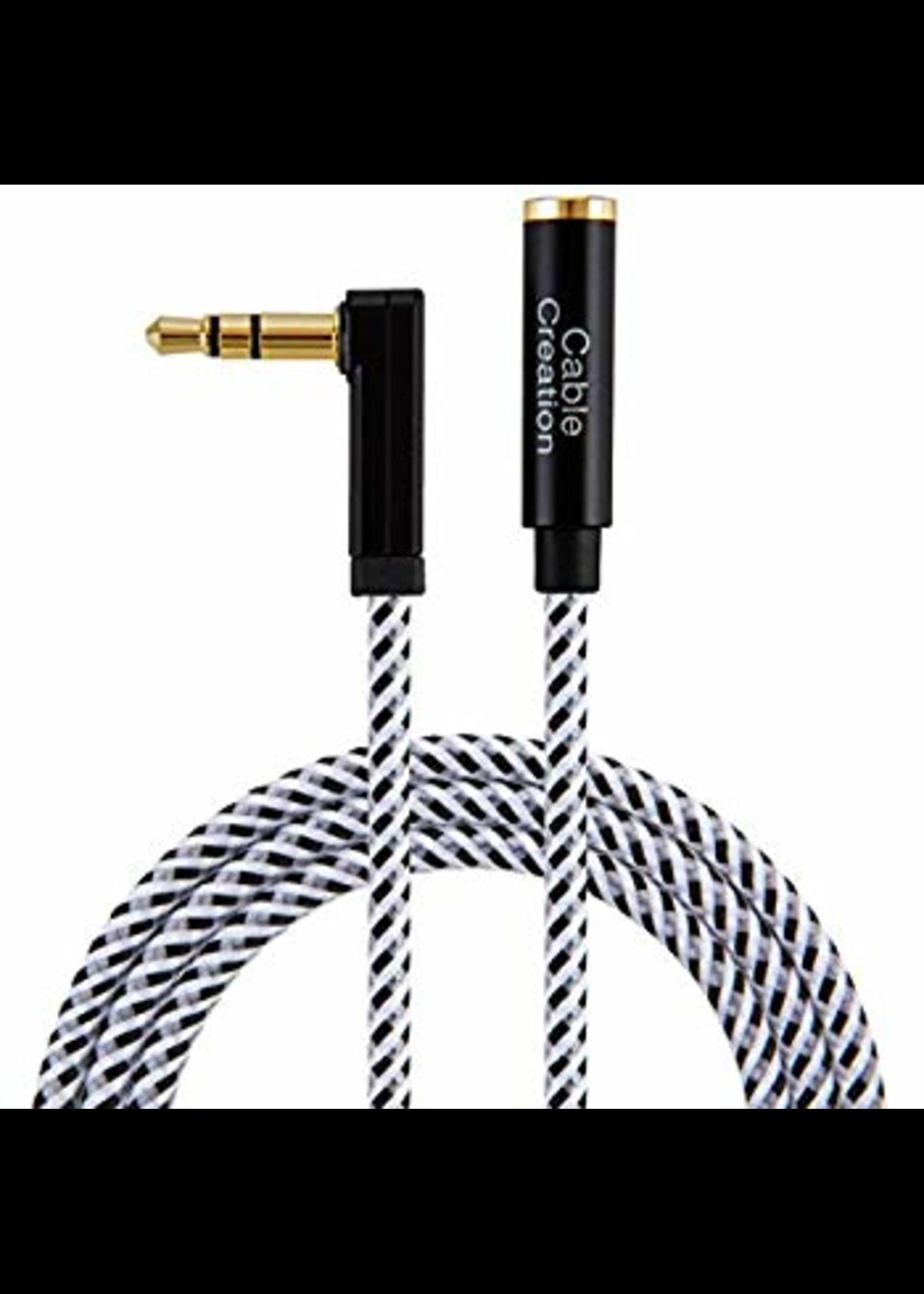 Cable-3.5mm AUX Extension Cable 6 FT, 90 Degree M-F AUX Cable