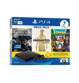 Sony PS4 Slim System 1TB Mega Pack Bundle - Call of Duty: Modern Warfare, Uncharted Collection, Crash Trilogy & 3 Month PS Plus