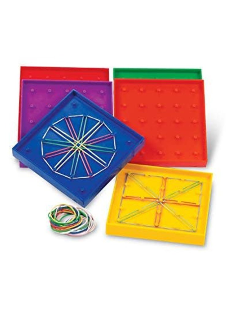 """Learning Resources 5"""" Double-Sided Assorted Geoboards, Set Of 6"""
