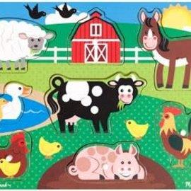 Melissa & Doug Wooden Peg puzzle- Farm