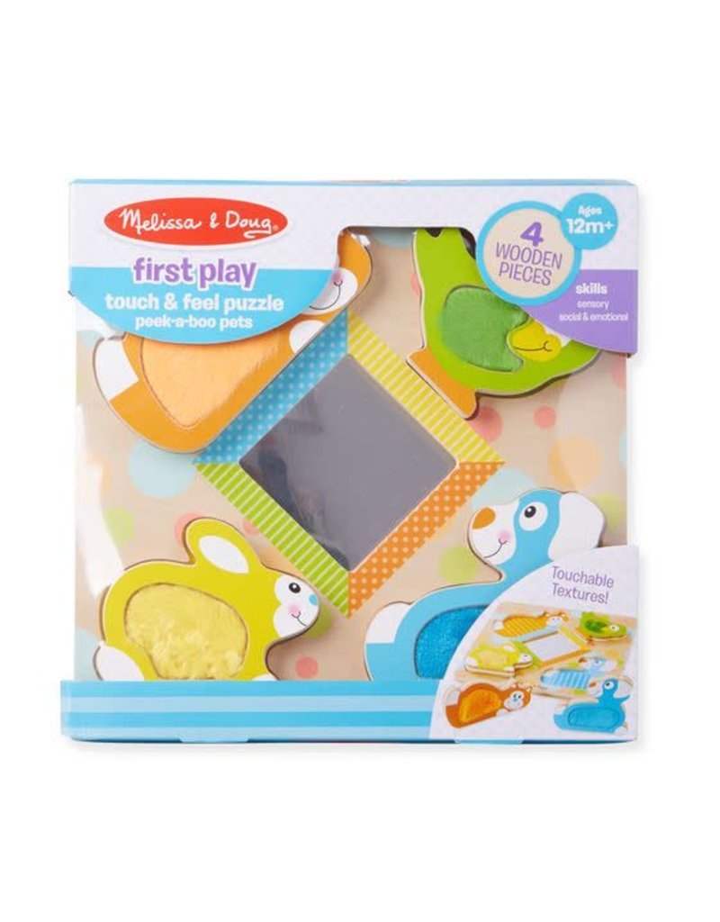 Melissa & Doug Touch and Feel Puzzle Peek-a-Boo Pets With Mirror
