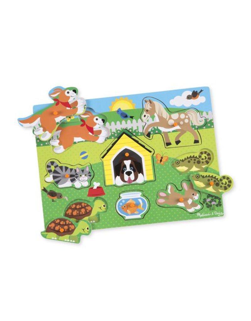 Melissa & Doug Wooden Peg Puzzle-Pets
