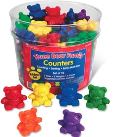 Learning Resources Three Bear Family Weighted Rainbow Counters, Set of 96