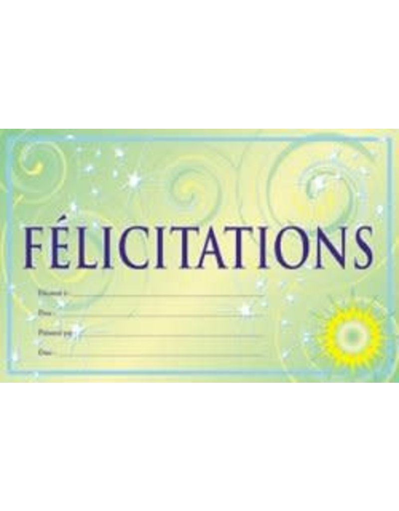 French Certificate Pad - Felicitations certificate