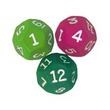 12 sided dice( pink, lime green, dark green)