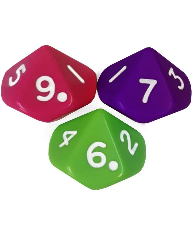10 Sided Dice (0-9) lime,raspberry,violet