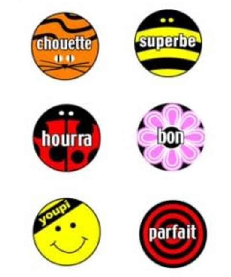 French Stickers - French word mini-stickers