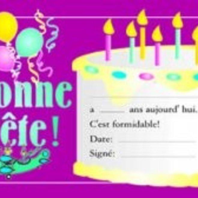 French Certificate Pad - Bonne Fete