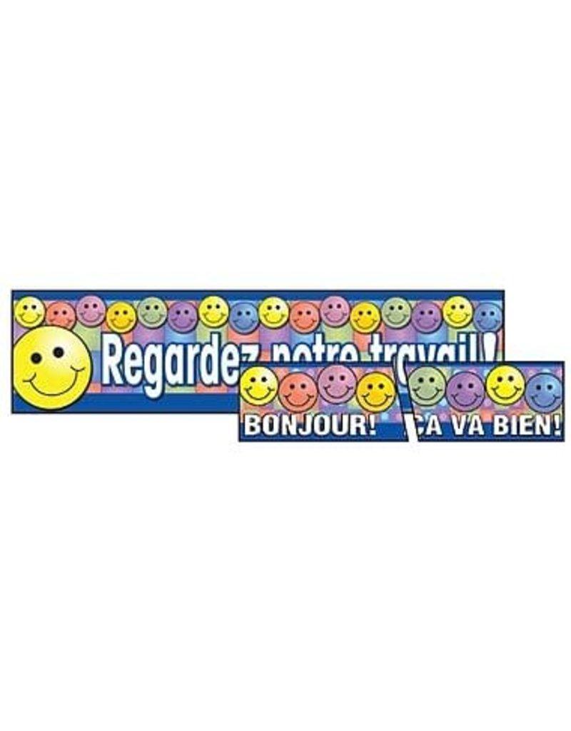 "French Banner and Trim Combo - ""Regardez notre travail & bonjour, etc"""