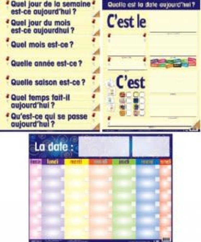 French Calendar Pals Laminated