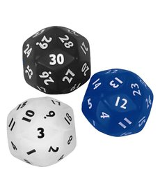 30 sided dice(black,red,white)