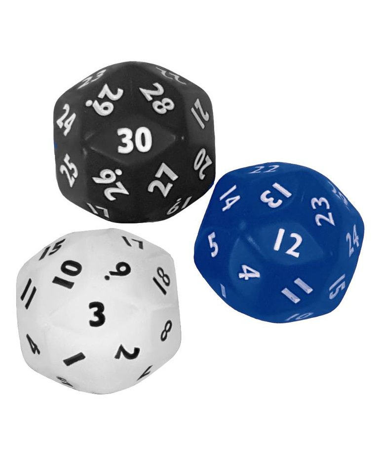 30 sided dice(black,blue,red,white)
