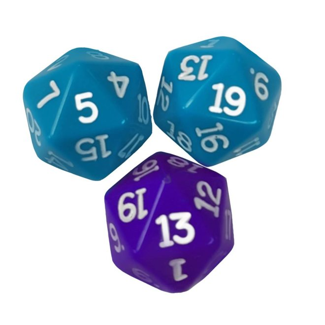 20 sided dice(turquoise,violet)