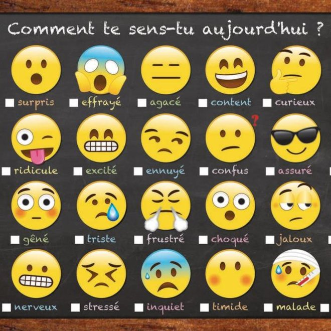 French Emoji - How Are You Feeling Chart