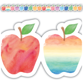Watercolor Apples Die-Cut Border Trim