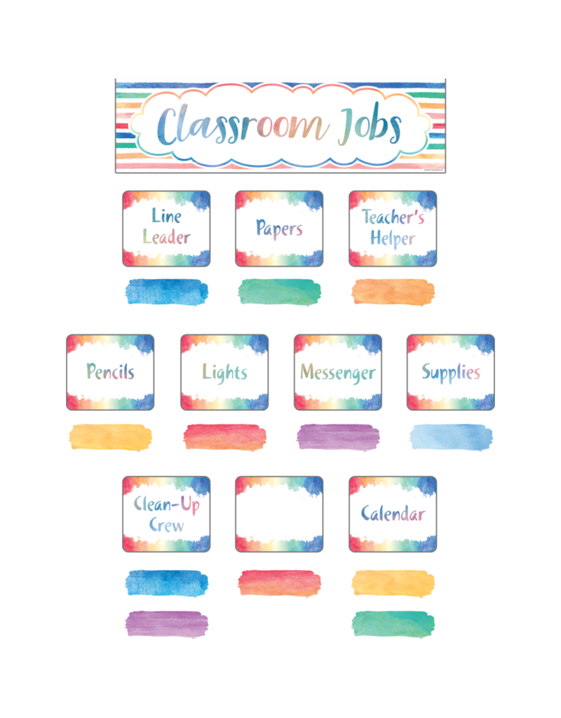 Watercolor Classroom Jobs Mini Bulletin Board