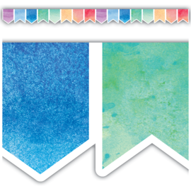 Watercolor Pennants Die-Cut Border Trim