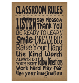 Shabby Chic Burlap Classroom Rules..poster