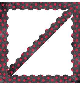 Dots on Chalkboard - Poppy Red Border