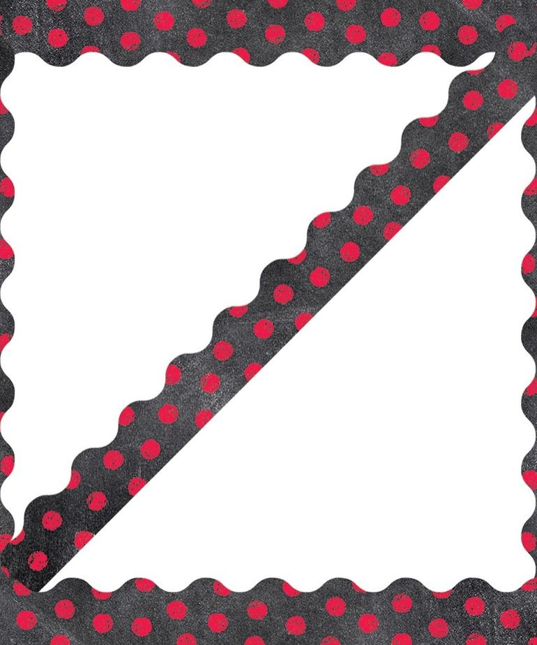 Dots on Chalkboard - Poppy Red Border