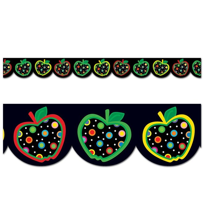 Dots on Black Apples Border