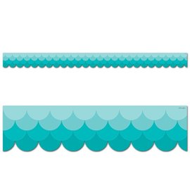 Ombre Teal Scalloped Border