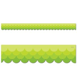 Ombre Lime Green Scalloped Border