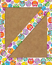 Colorful Owls Straight Border