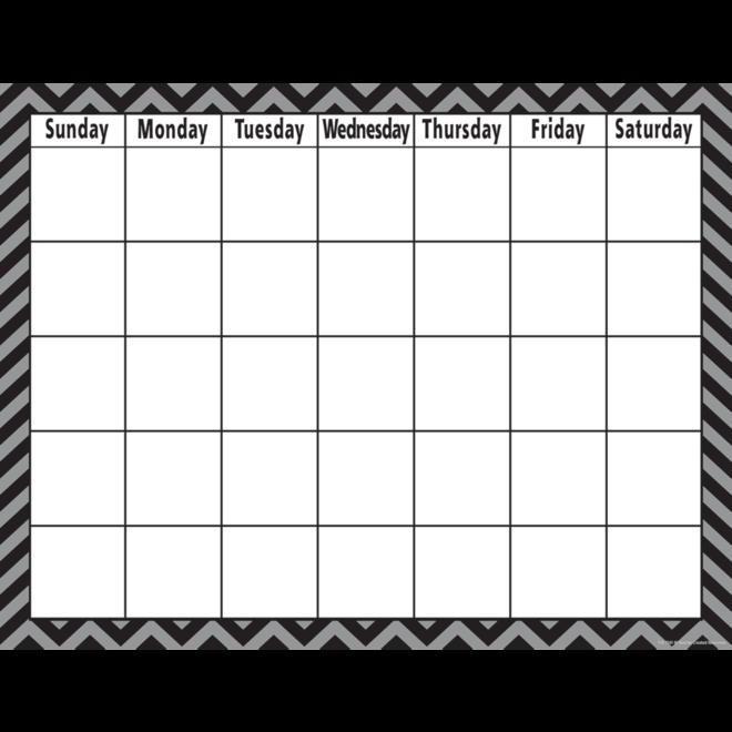 Black Chevron Calendar Chart
