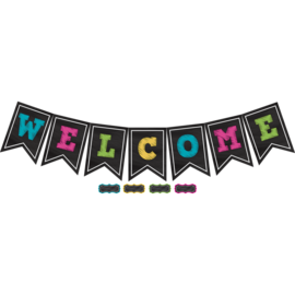 Chalkboard Brights Pennants Welcome Bulletin Board
