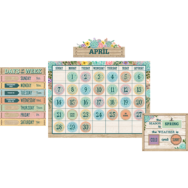 Rustic Bloom Calendar Bulletin Board Set