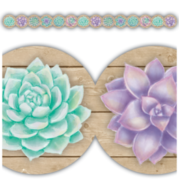 Rustic Bloom Succulents Border Trim