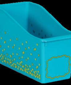 Teal Confetti Plastic Book Bin